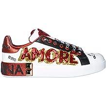 Dolce   Gabbana Chaussures Baskets Sneakers Femme en Cuir Portofino Blanc 840f3ac31f3f