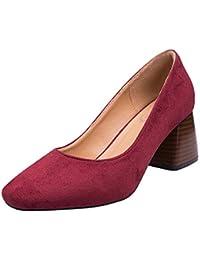 bc4906f0c6 Tenthree Zapatos De Tacón Grueso Tacón Mujer - Primavera Cómodo Oficina  Trabajo Casual Ante Punta Moda