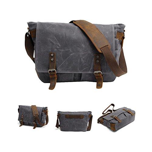 VRIKOO Waterproof Canvas Leather Messenger Bag Crossbody Satchel Shoulder  Bags 14 inch Laptop Briefcase Dunkelgrau