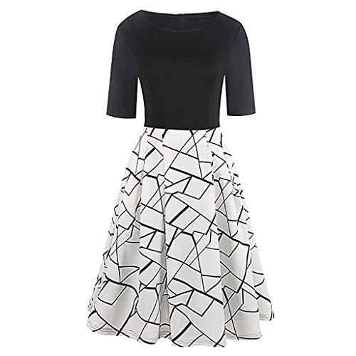 Damen Kleider Mode Sommer Kleid Kurzarm Freizeit Kleid Vintage Oansatz Patchwork Taschen Puffy Swing Polka Dot Print BeiläUfige Lose Abendkleid Kaftan Kleid Luftiges Kleid Florydays Kleider Weiß XL