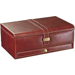 Dulwich Designs Heritage Brown 10 Pc Watch and Cufflink Box