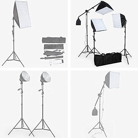 TecTake Boite Lumière Softbox Photo Video Studio - diverses modèles au choix - (Kit éclairage studio 3 Lampes (400894))