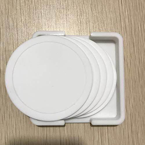 ZLDDE Silikon-Untersetzer - 10 Stück, Black ,Glasuntersetzer-Set für Bar, Wohnzimmer, Küche Weiß 9cm -