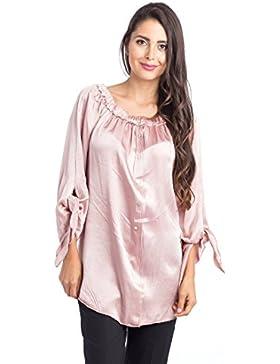 [Patrocinado]Abbino 66450 Blusas Tops para Mujer - Hecho en ITALIA - 5 Colores - Verano Otoño Invierno Mujeres Femeninas Elegantes...