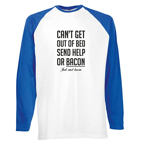 Brand88 - Can't Get Out Of Bed Send Bacon , Langarm Baseball T-Shirt Weiss & Blau