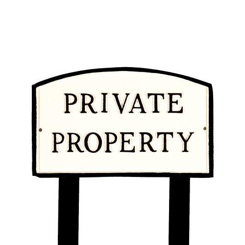 Montague Metall Produkte sp-17s-wb-ls Standard weiß und schwarz Private Property Arch Statement Gedenktafel mit 223Rasen Einsatz