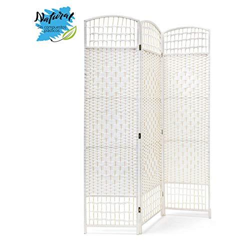 Biombo Blanco de Bambú Natural para Salón/Dormitorio, Patas de Acero Inoxidable. Diseño Funcional - Hogar y Más - 3 Paneles