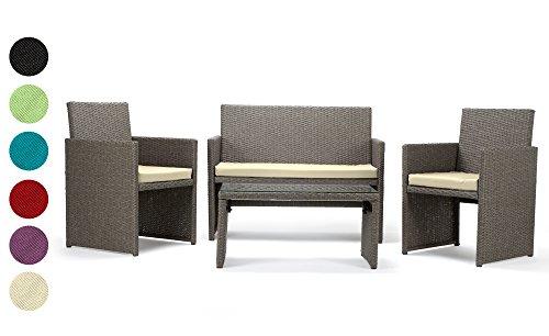 Rattan4Life Sitzgruppe Neapel, 4-teilig Deluxe Polyrattan Gartenmöbel Set, Sofa / Lounge / Gartengarnitur / Kissenbezüge, Rattan grau / braun, Bezug beige - 3
