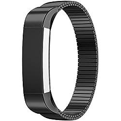 14mm correa de reloj, happytop acero inoxidable pulsera correa de muñeca relojes de repuesto para Fitbit alta HR Smart Watch, hombre, negro, S