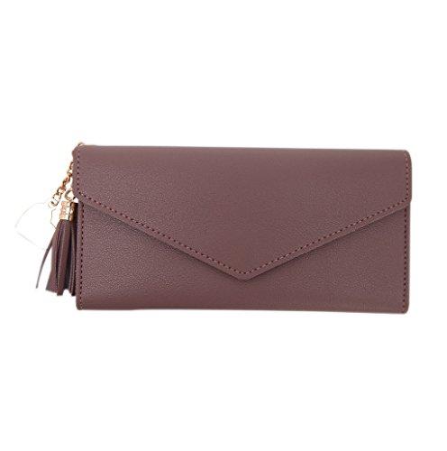 Dairyshop Portamonete da donna sacchetto di telefono della borsa del supporto della carta del raccoglitore di cuoio della signora della nappa della signora delle donne (Grigio) marrone