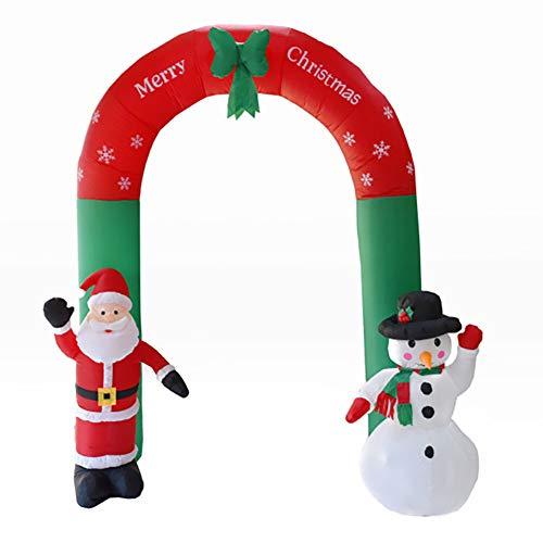 8 Fuß Torbogen Weihnachten Aufblasbar Beleuchtet Weihnachtsmann Und Schneemann Mit Bogen LED Hof Urlaub Dekoration (Aufblasbar Weihnachten Hof Dekorationen)