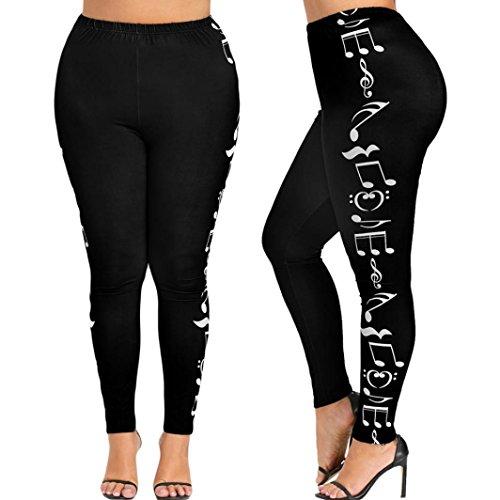 41HQbhbCzmL - Pantaloni di Yoga  - Luoluoluo Pantaloni Tuta Donna ,Moda Donna Alta Vita Più Dimensioni Yoga Pant, Donne Sport Pantaloni, Musica Nota Stampa Leggings Pantaloni -