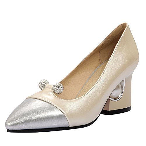 Mee Shoes Damen Blockabsatz Strass mehrfarbig Pumps Beige