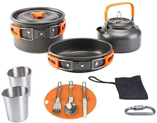 Aitsite Camping Cookware Kit Outdoor Aluminum Lightweight Camping Pot Pan Cooking Set...