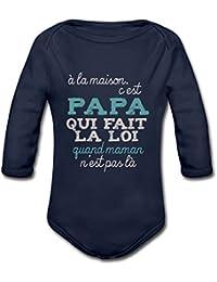 Citation Papa Fait La Loi Humour Body bébé bio manches longues de Spreadshirt®