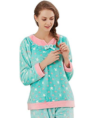 YouPue Femmes Pyjamas Sets Velours Corail Pyjamas Tricotage Costume Manches Longues Pull-over Pyjama Homewear Loungewear Dots Impression Bleu