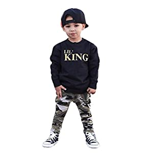 Cool Kids Boy Autumn Outfits for 1-5Years, Kolylong Letter T shirt Tops+Camouflage Pants Clothes Set