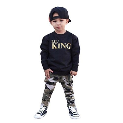Kolylong Cool Kids Boy Autumn Outfits For 1-5Years, Letter T Shirt Tops+Camouflage Pants Clothes Set (5 Years, Black)