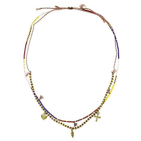 KELITCH 2 Strands Cristal Perles de Rocaille Feuille Cœur Traverser Charme Collier - Rouge Jaune
