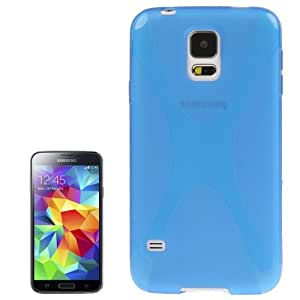 Flex Anti-Slip X Line Shape X-Shape Silicone Rubber TPU Gel Case Back Cover for Samsung Galaxy S5 G900 in Blue