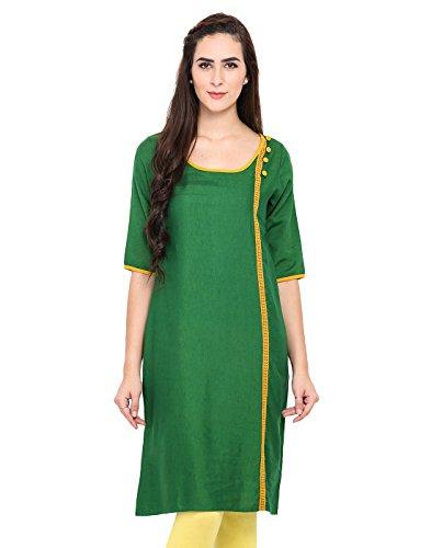 Green Rayon Solid Kurti X-Large