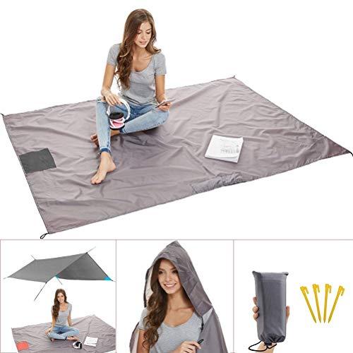 für Outdoor, Wandern, Reisen, Sport Sand Proof Picknick-Matte Wasserdichte Bodendecker mit Wiegbaren Taschen + 4 Ankerschleifen ()