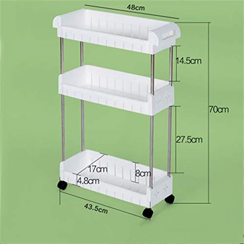 Küche Slim Slide Out Storage Tower Rack-Weiß 3 Tier Mobile Regaleinheit Organizer mit Universal-Rädern, abnehmbare Slim Slide Out Pantry Lagerregal for Enge Räume Wäscherei Badezimmer -