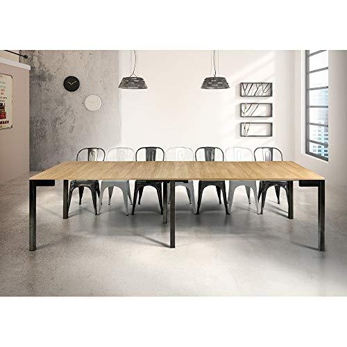 Milanihome tavolo consolle allungabile da pranzo moderno di design industrial cm 90 x 50/100/150/200/250/300 struttura nera piano naturale per sala da pranzo