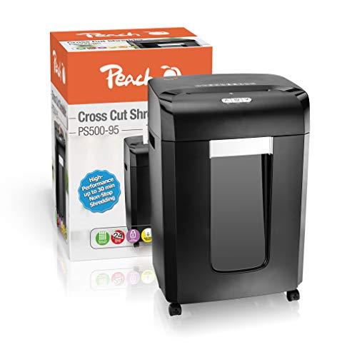 Peach PS500-95 Partikelschnitt Aktenvernichter   29 Blatt   30 Liter/400 DIN A4   4 x 35 mm Partikelgröße (P-4)   DIN A4 ca. 420 Partikel   Dauerbetrieb 30min/über 3600 Blatt   ideal für neue DSGVO