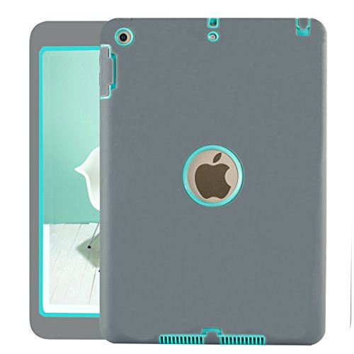 Neue iPad 24,6cm 2018/2017Fall, uzer (Heavy Duty stoßfest Anti-Rutsch Silikon High Impact Resistant Hybrid Drei Schicht Hard PC + Silikon Armor Schutzhülle für Neue iPad 24,6cm 2017/2018 Gray+Aqua