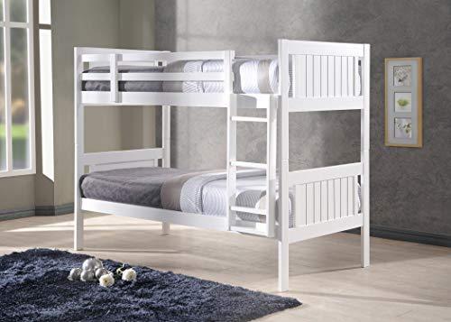 New Milan Wooden Kids Bunk Bed White Shaker Style Modern Childrens 3FT Single Bed Frame Bedroom Furniture