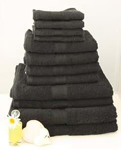 12 tlg. Handtuchset in Schwarz, 2xBadetücher, 2xDuschtücher, 4xHandtücher, 4x Gästetücher