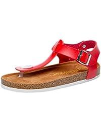 ZKOO Zehentrenner Sandalen Damen Riemchen Kork Sandaletten Sommer  Hausschuhe Pantoletten Sand Flache Schuhe Freizeit Komfort 9d115c3d01