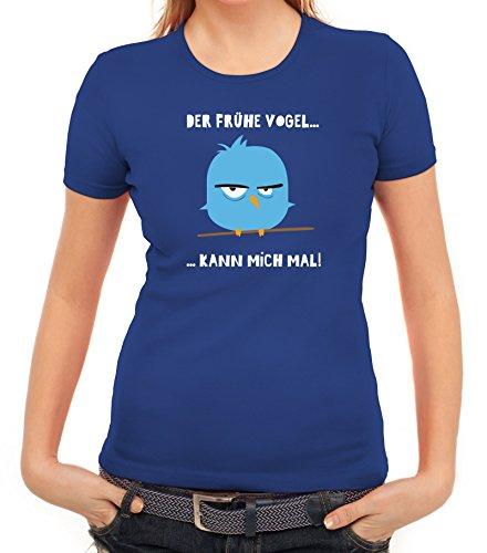Morgenmuffel Damen T-Shirt mit Mad Bird - der frühe Vogel Motiv von ShirtStreet Royal Blau