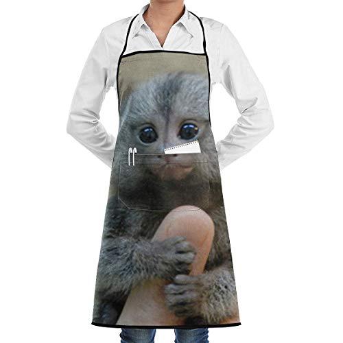 QIAOJIE Verstellbare Latzschürze mit Taschen, Motiv: Marmoset und Capuchin Affen