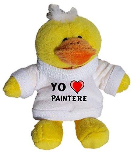 Pollo de peluche (llavero) con Amo Paintere en la camiseta (nombre de pila/apellido/apodo)