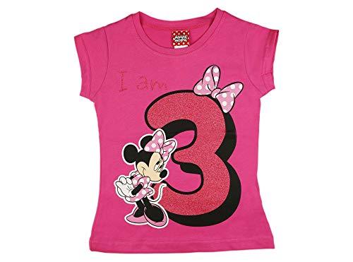 Mädchen Baby Kinder dritter Geburtstag Kurzarm T-Shirt 3 Jahr Baumwolle Birthday Outfit GRÖSSE 98 104 Minnie Mouse Disney Design Glitzer Weiss oder Rosa Babyshirt Oberteil Farbe Rosa, Größe 104 - Mädchen Glitzer T-shirt