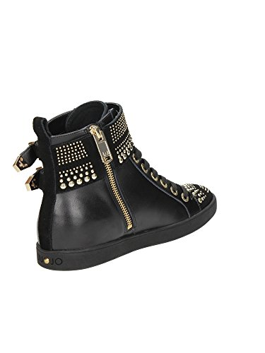 Liu Jo Sneaker Damen Basket Nelly F/cassetta Studs Reißverschluss Leather S64183 P0015 Schwarz Schwarz