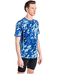 Nessi Shirt MK Fitness Herren Laufshirt Langarm Atmungsaktiv Blue Splash