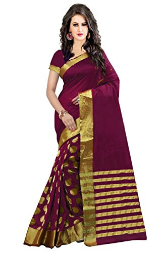 PerfectBlue Cotton Saree With Blouse piece (FBAWineGoli_Wine_Free Size)