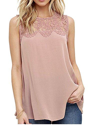Damen Chiffon Spitze Ärmelloses Shirt Lässige Tanktops Pink