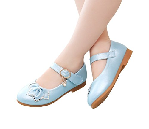 Brinny Niedlich Baby Mädchenlederschuhe Rose-Blume Princess Ballet Flach Schuhe Weicher Sohlen Mary Jane Halbschuhe Blau