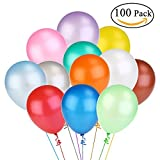 NUOLUX Assorted Bright Color Latex Balloons 12 Inch 100pcs(Random Color)