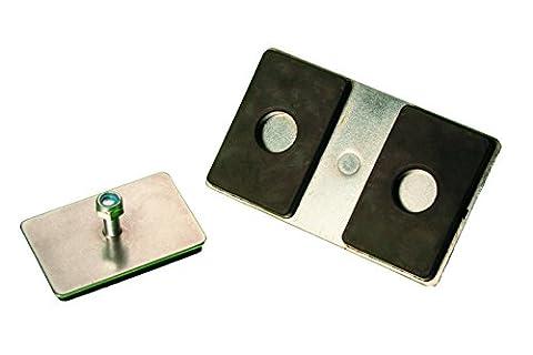 Supa-mag Neopad double, Super magnétique solide Mount. Couleur: Nickel brillant et noir, taille: 100mm x 60mm x