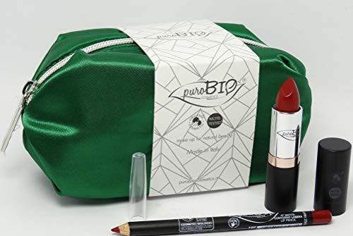 PUROBIO - Trousse de maquillage B - Pochette verte + Rouge à lèvres 14 + Crayon à lèvres 47 - Idée de cadeau parfaite - Produits cosmétiques certifiés ccpb, Vegan et Nickel testés
