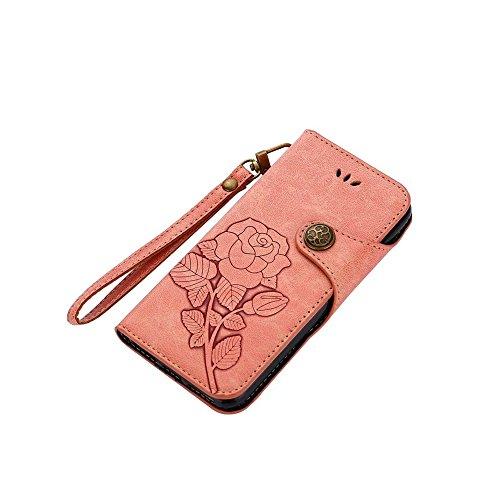 Rose Blume geprägt Flip Stand Case Retro PU-Leder magnetischen Flap Brieftasche Pouch mit Lanyard für iPhone 6 / 6s ( Color : Black ) Pink