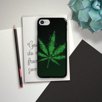Apple iPhone X Silikon Hülle Case Schutzhülle Blatt Gras Hanf Hard Case schwarz