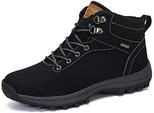 Herren Trekking Wander Schuhe Damen Wasserdicht Rutschfest Outdoor Sport Sneaker Männer Frauen PU Leder Stiefel Schwarz Gr.40 - Stiefel Schuh Frauen