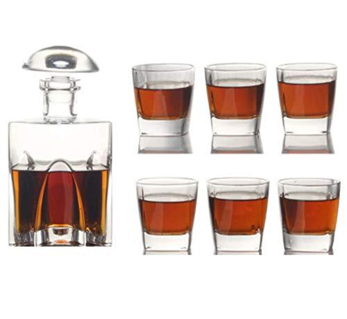Yycdd set decanter per whisky - bicchiere di cristallo senza piombo, bicchieri da cocktail decanter boccale da birra bellissimo cofanetto regalo, set da 7 pezzi,