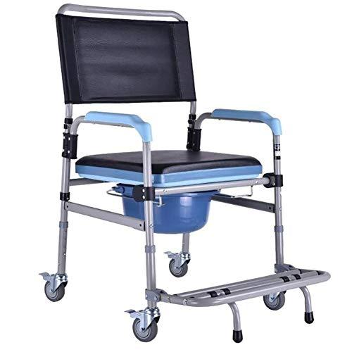 D&F Falten Bedside Toilettenstühle,Deluxe Bett und Badezimmer Medizinisch Sicherheitsgestelle für Toiletten Bettpfannen mit 4 Rad